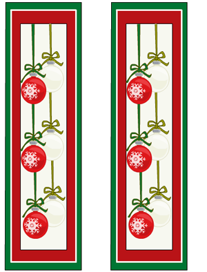christmas bookmarks featuring cute ornaments design