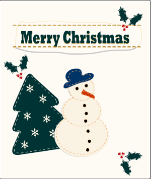 free printable christmas card featuring snow-man and christmas tree