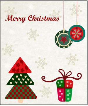 card with christmas tree, gifts and ornaments