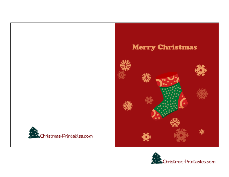Merry Christmas Card Printable Featuring Stockings And Snowflakes