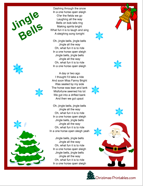 "... Results for ""Free Printable Jingle Bells Lyrics"" – Calendar 2015"