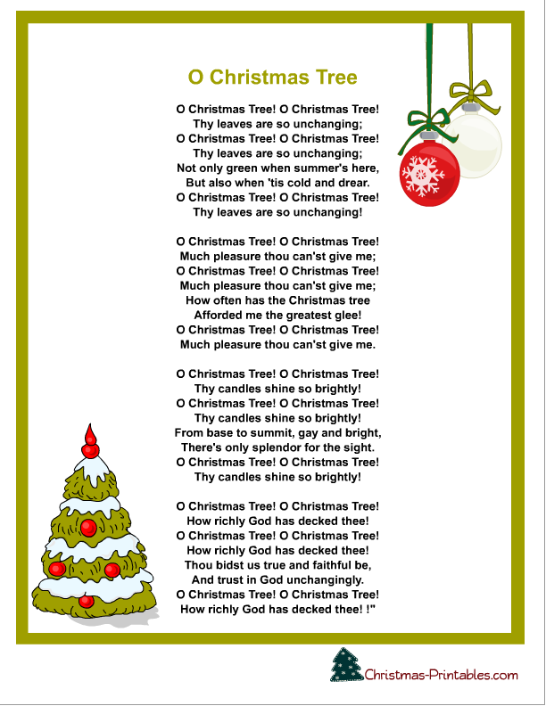 Free Printable Christmas Carol Lyrics Sheet O Christmas Tree