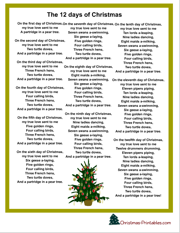 free printable christmas carols and songs lyrics. Black Bedroom Furniture Sets. Home Design Ideas