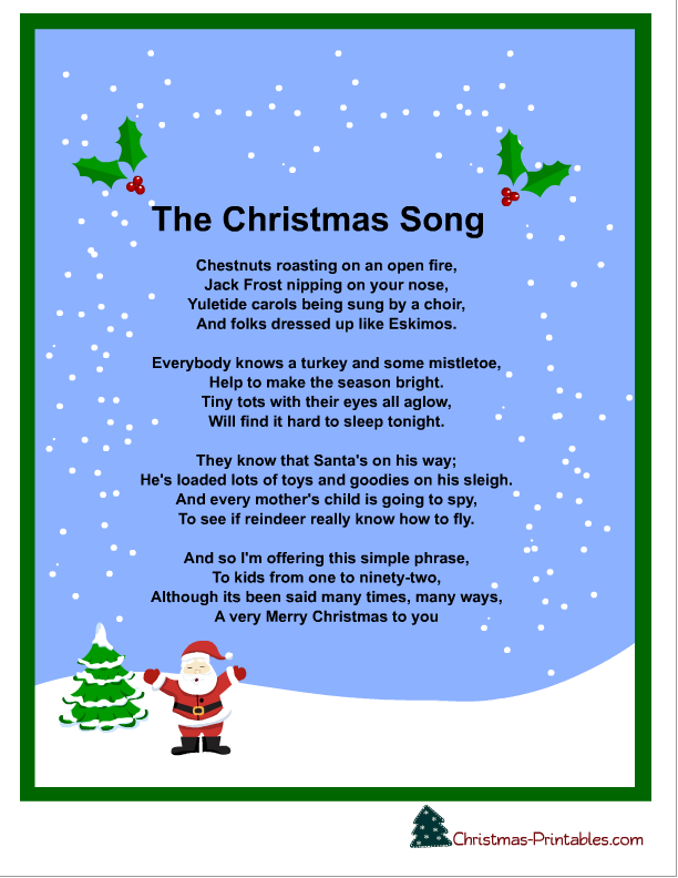 This is a picture of Unforgettable Free Printable Christmas Songs