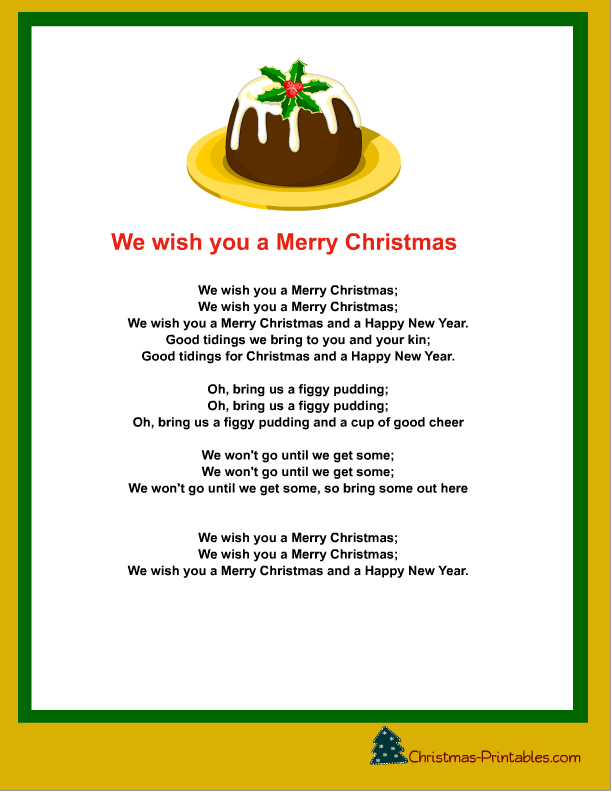 It is a photo of Simplicity We Wish You a Merry Christmas Lyrics Printable