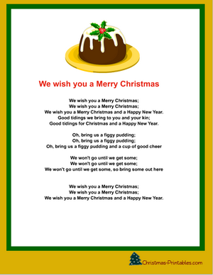 we wish you a merry christmas carol printable