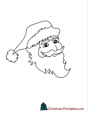 coloring page printable of santa face