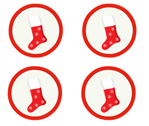 labels decorated with image of christmas stockings