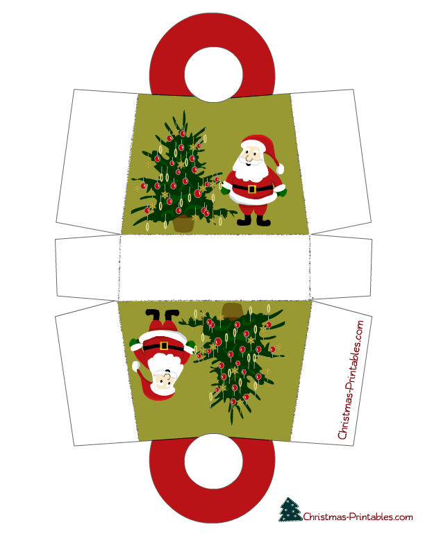 Santa And Tree Christmas Gift Bag Printable