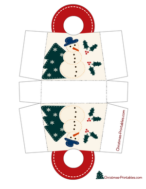 christmas gift bag decorated with design of snowman and tree