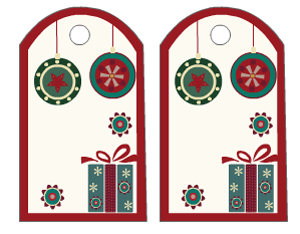 cute gift tags decorated with ornaments design