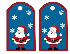 cute tags with santa and snowflakes