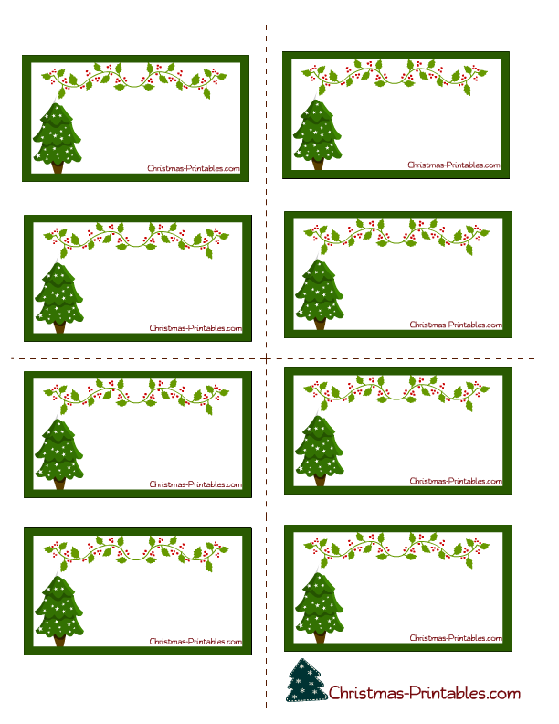 elegant labels with christmas tree and vine