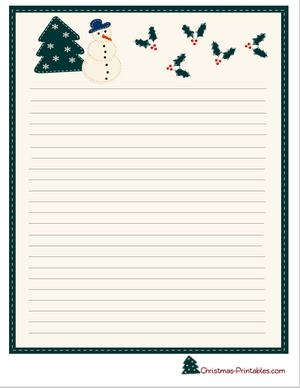 stationery printable featuring snowman and mistletoe