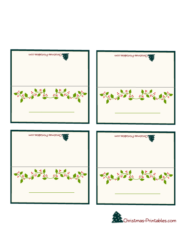Free Printable Christmas Place Cards Search Results