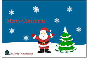 free printable postcard featuring santa and christmas tree