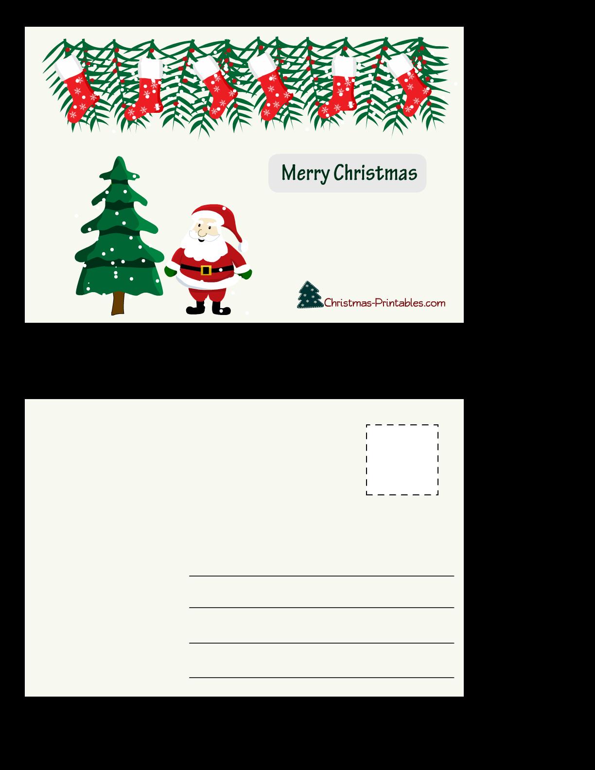 Free printable christmas postcards for Printable postcards free