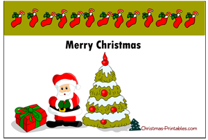 free printable post card featuring santa and christmas tree